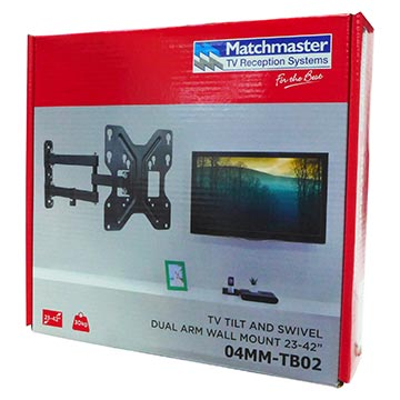 """04MM-TB02 - TV Tilt and Swivel Dual Arm Wall Mount 23-42"""" Packaging Image"""
