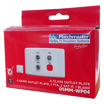 05MM-WP04 - SAT/FTA/PDR Outlet Plate (Foxtel Approved) Packaging Image