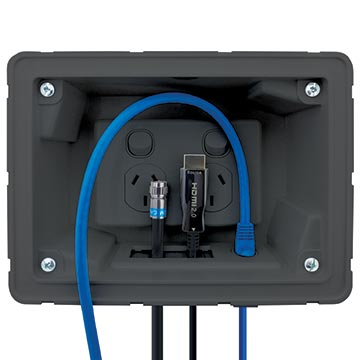 04MM-RP03 - Recessed Wall Point with Built in Cable Management System (Black) Application Image
