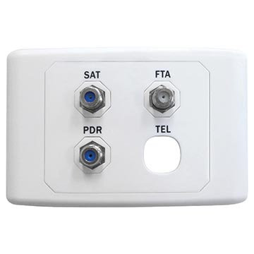 05MM-WP04 - SAT/FTA/PDR Outlet Plate (Foxtel Approved)