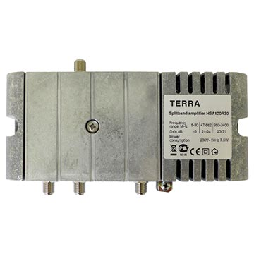 14MM-HSA100R - Satellite/Terrestrial Amplifier 31dB Sat. 24dB Ter. Passive 30MHz Return-path