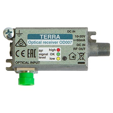 20MM-OD007 - Fibre Mini Receiver 75dBµV Output 10-20VDC Powering