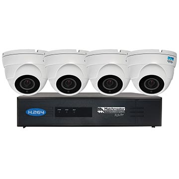 50MM-LN8CH2TB4D - CCTV Surveillance Kit LAN (POE) 2TB Storage with 4x 4/5MP Dome Cameras